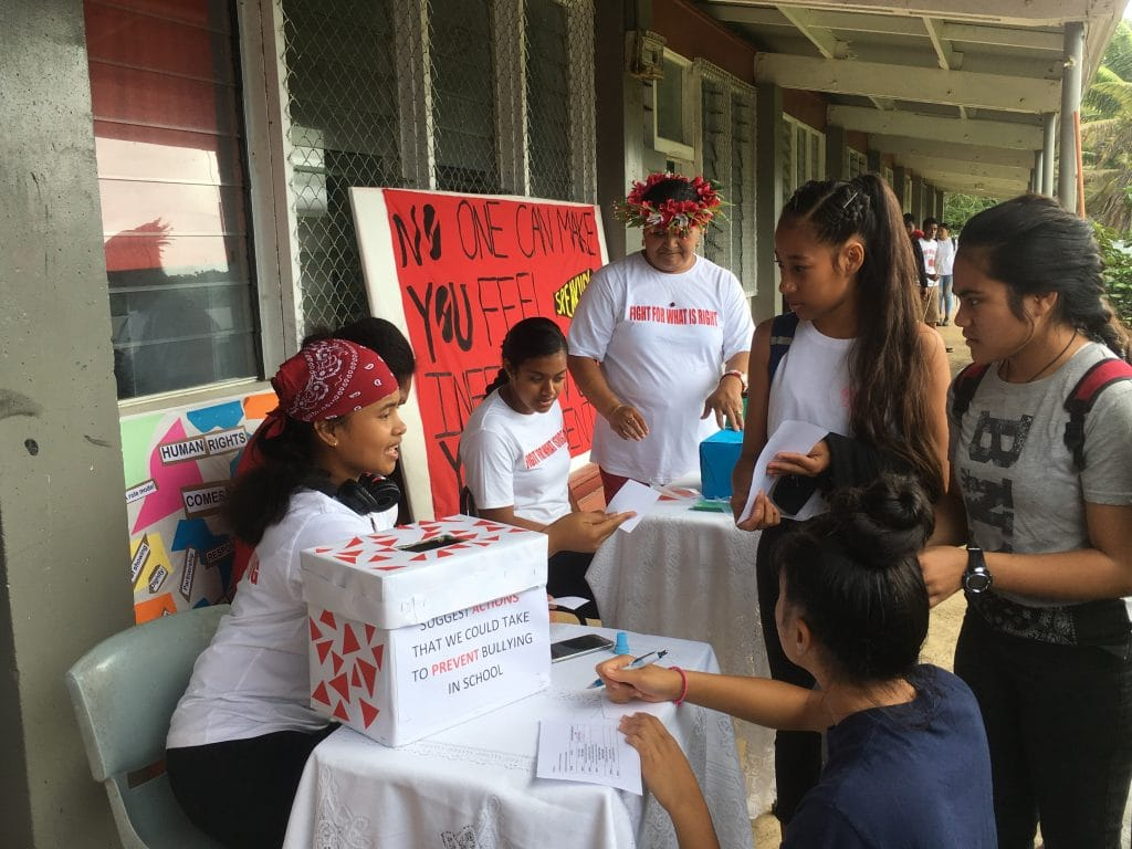 Niue High School's Year 11 students of Social Studies yesterday campaigned on Human  Rights issues at the school with Bullying as the focus.  The  campaign is spearheaded…