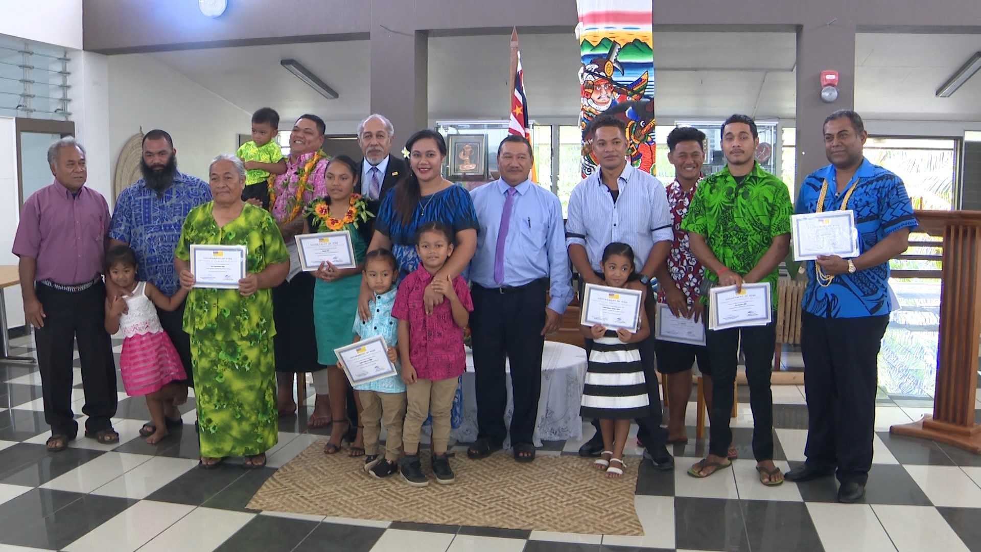 A special ceremony was held at the Fale Fono to recognize the granting of permanent residency status to 12 people.   Four of whom are children.  This is the second such…